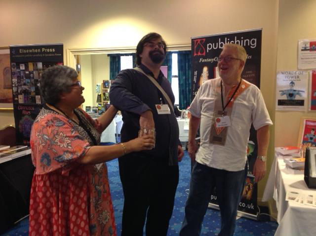 Ritchie Valentine Smith (right) at UK Fantasycon 2017 as Adrian Tchaikovsky (centre) draws our raffle ticket - Adrian won the Best Fantasy Novel award soon after